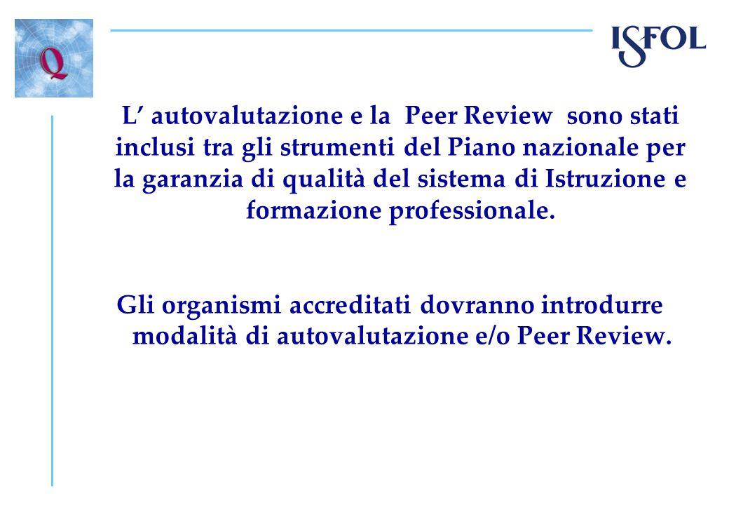 L' autovalutazione e la Peer Review sono stati inclusi tra gli strumenti del Piano nazionale per la garanzia di qualità del sistema di Istruzione e formazione professionale.