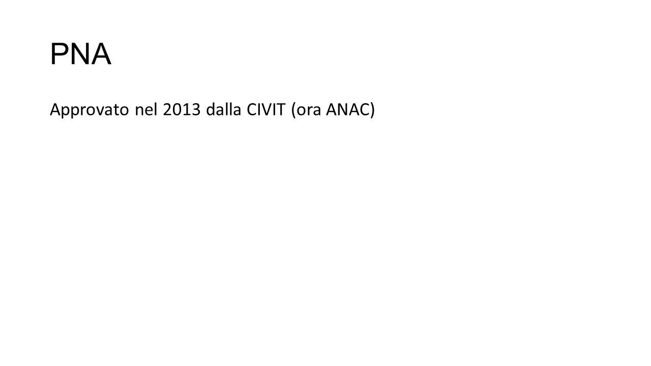 PNA Approvato nel 2013 dalla CIVIT (ora ANAC)