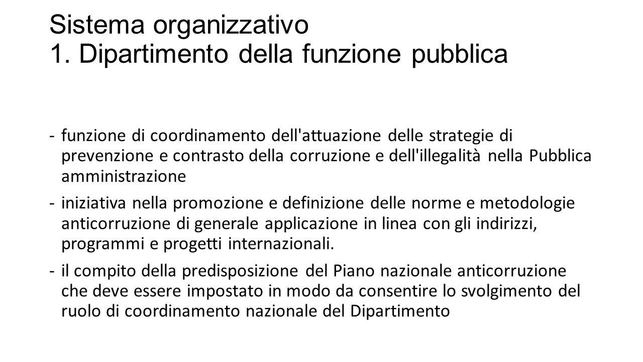 Sistema organizzativo 1. Dipartimento della funzione pubblica -funzione di coordinamento dell'attuazione delle strategie di prevenzione e contrasto de