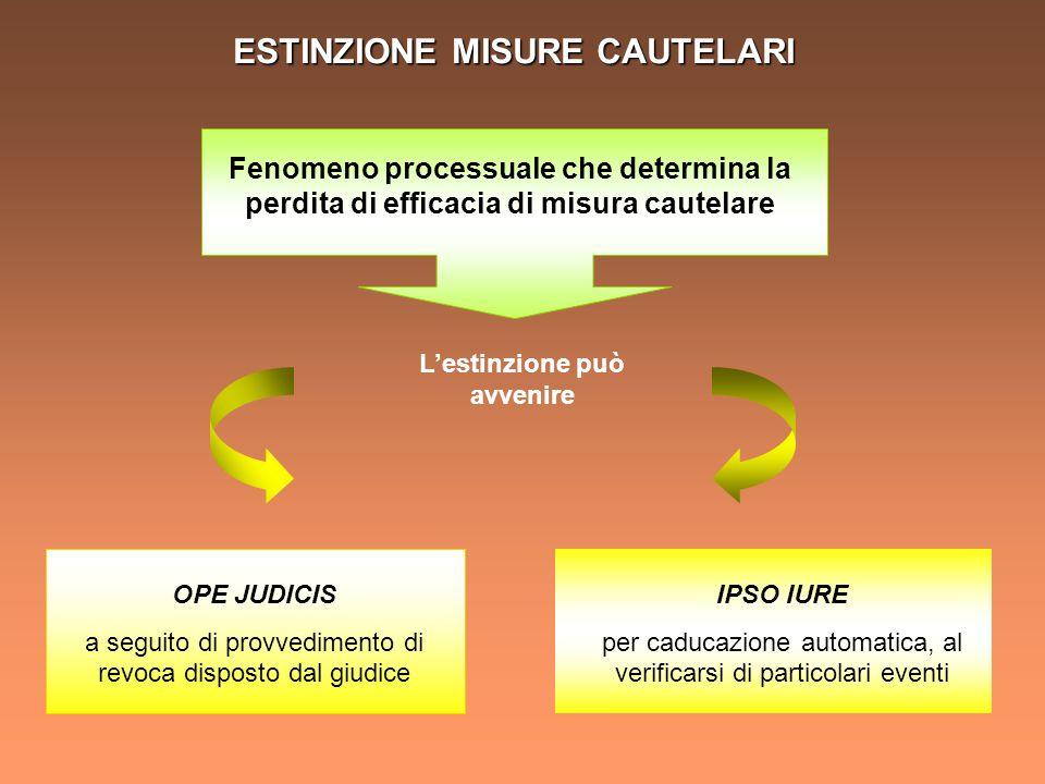 ESTINZIONE IPSO IURE Perdita automatica di efficacia di una misura cautelare, alla pronuncia di determinati provvedimenti o per il decorso del tempo CASI art.