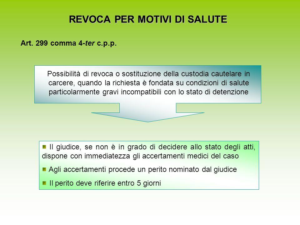 REVOCA PER MOTIVI DI SALUTE Art. 299 comma 4-ter c.p.p. Possibilità di revoca o sostituzione della custodia cautelare in carcere, quando la richiesta