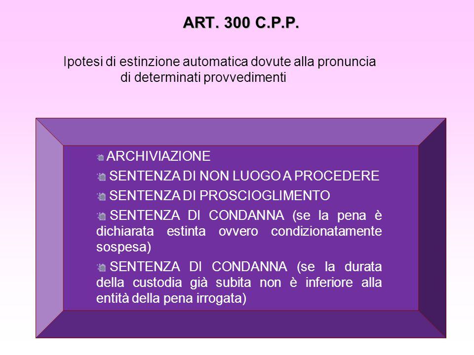 ART. 300 C.P.P. Ipotesi di estinzione automatica dovute alla pronuncia di determinati provvedimenti ARCHIVIAZIONE SENTENZA DI NON LUOGO A PROCEDERE SE