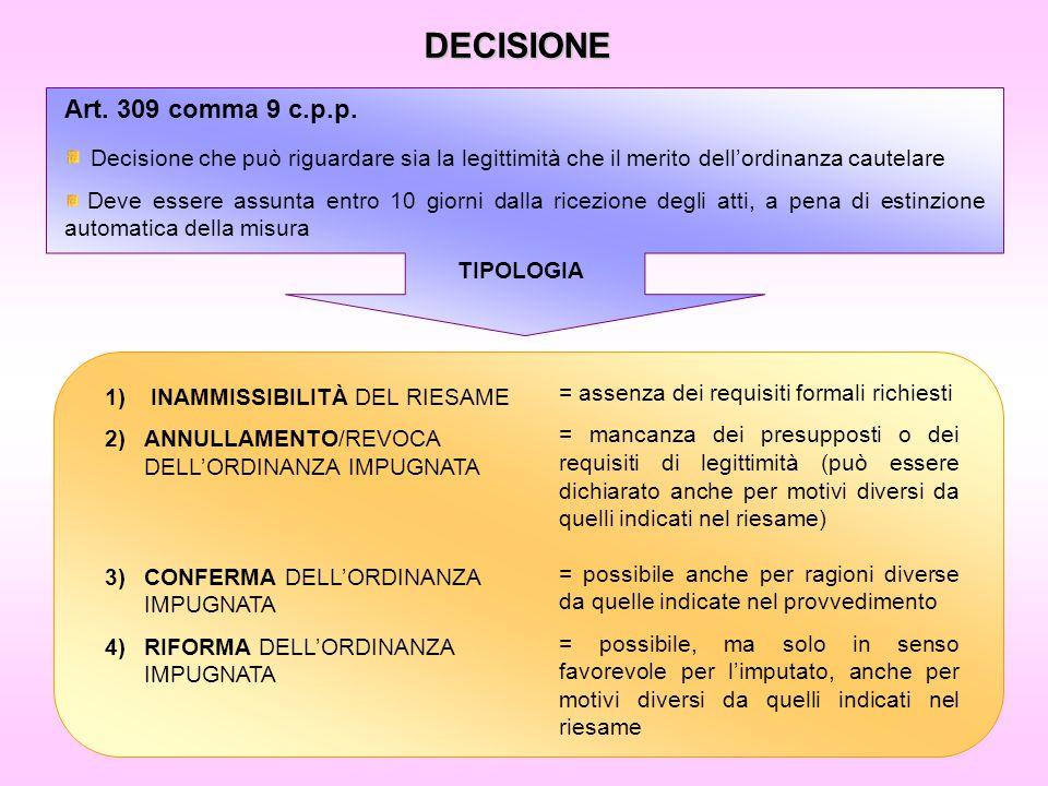 DECISIONE Art. 309 comma 9 c.p.p. Decisione che può riguardare sia la legittimità che il merito dell'ordinanza cautelare Deve essere assunta entro 10