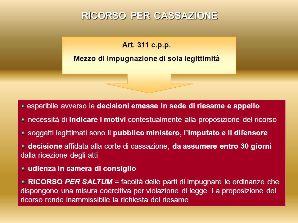 RICORSO PER CASSAZIONE Art. 311 c.p.p. Mezzo di impugnazione di sola legittimità esperibile avverso le decisioni emesse in sede di riesame e appello n