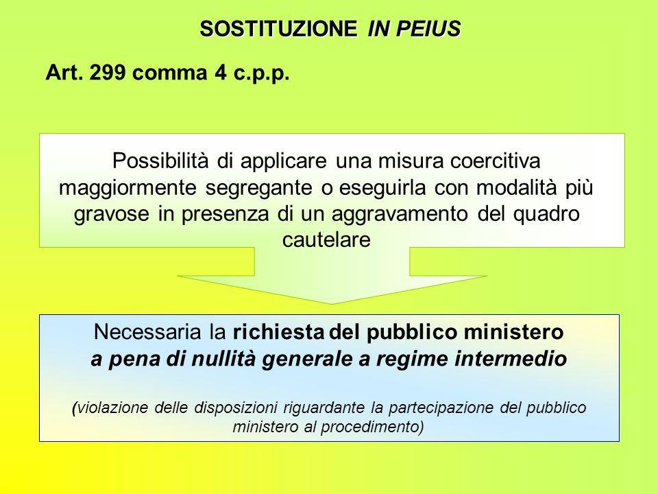 SOSTITUZIONE IN PEIUS Art. 299 comma 4 c.p.p. Possibilità di applicare una misura coercitiva maggiormente segregante o eseguirla con modalità più grav