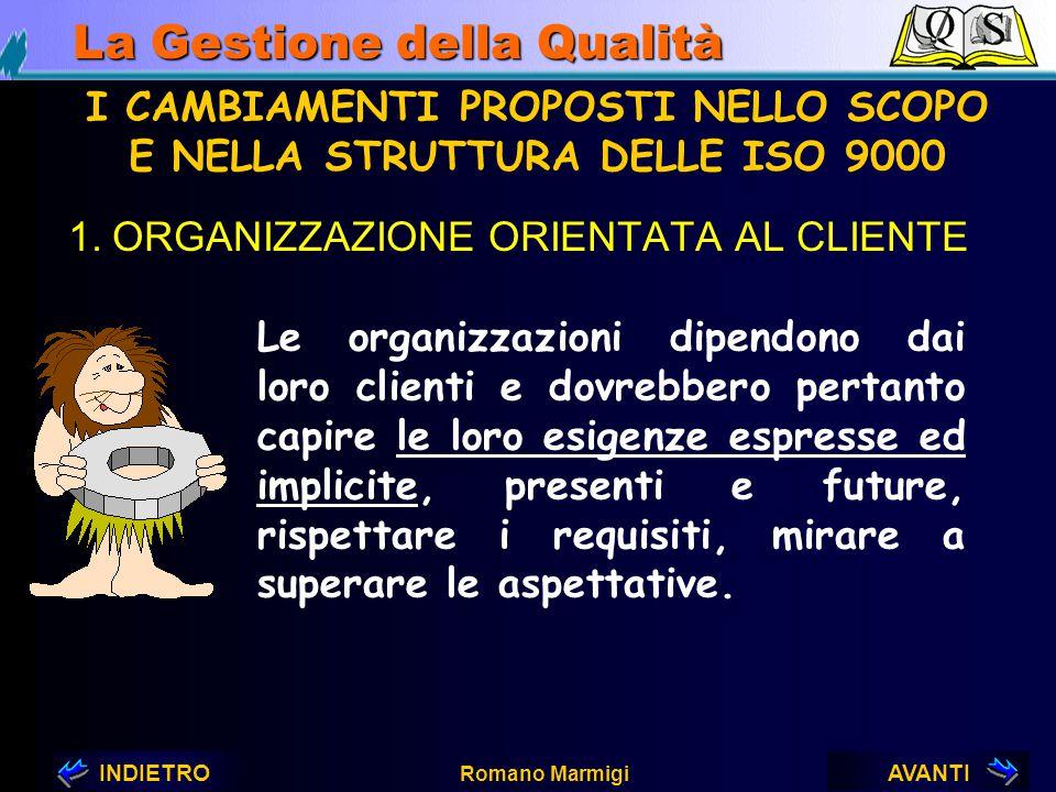 AVANTIINDIETRO Romano Marmigi La Gestione della Qualità 1. Organizzazione orientata al cliente 2. Leadership 3. Coinvolgimento del personale 4. Approc