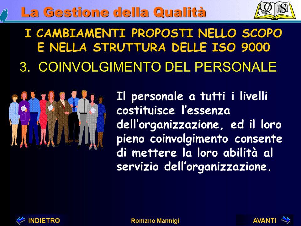 AVANTIINDIETRO Romano Marmigi La Gestione della Qualità 2.LEADERSHIP I CAMBIAMENTI PROPOSTI NELLO SCOPO E NELLA STRUTTURA DELLE ISO 9000 I capi devono