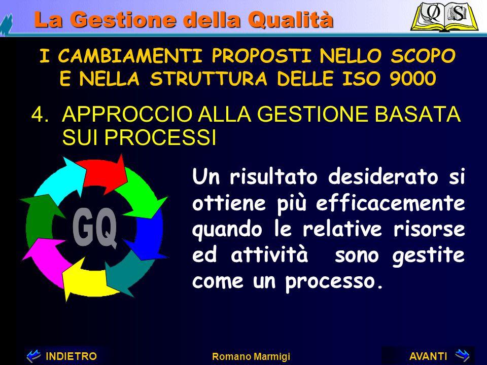 AVANTIINDIETRO Romano Marmigi La Gestione della Qualità 3.COINVOLGIMENTO DEL PERSONALE I CAMBIAMENTI PROPOSTI NELLO SCOPO E NELLA STRUTTURA DELLE ISO