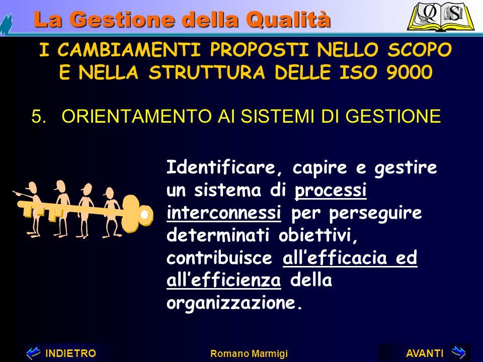 AVANTIINDIETRO Romano Marmigi La Gestione della Qualità I CAMBIAMENTI PROPOSTI NELLO SCOPO E NELLA STRUTTURA DELLE ISO 9000 INPUTOUTPUTPROCESSI MEZZI