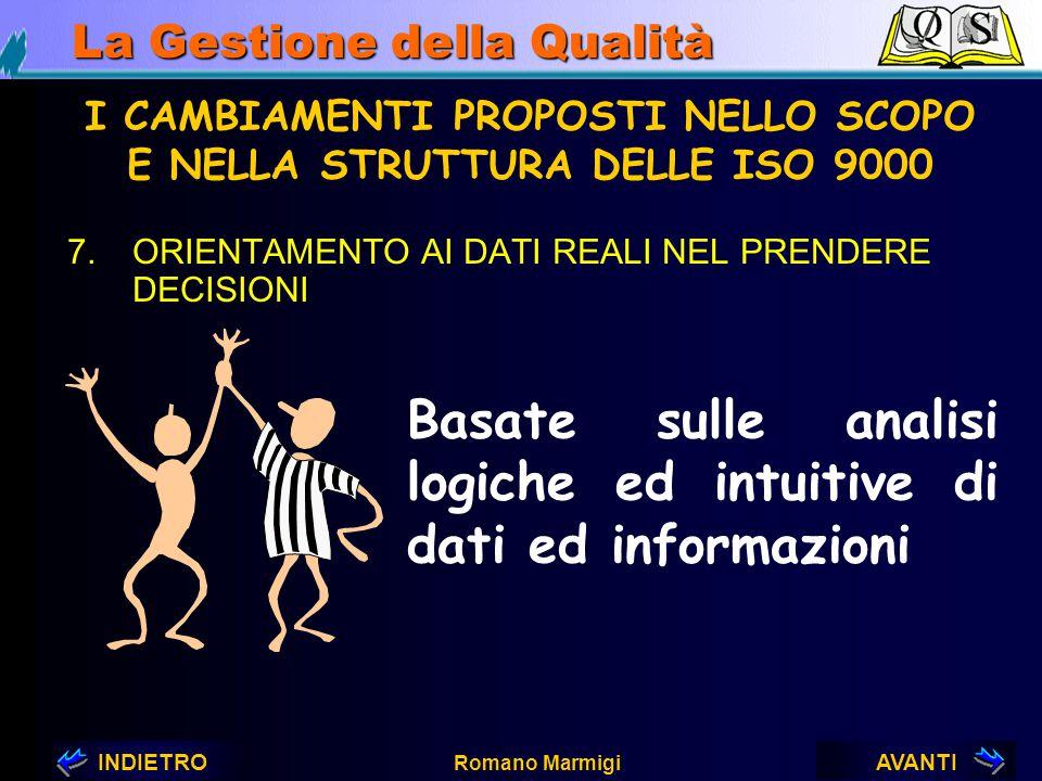 AVANTIINDIETRO Romano Marmigi La Gestione della Qualità 6.MIGLIORAMENTO CONTINUATIVO I CAMBIAMENTI PROPOSTI NELLO SCOPO E NELLA STRUTTURA DELLE ISO 90