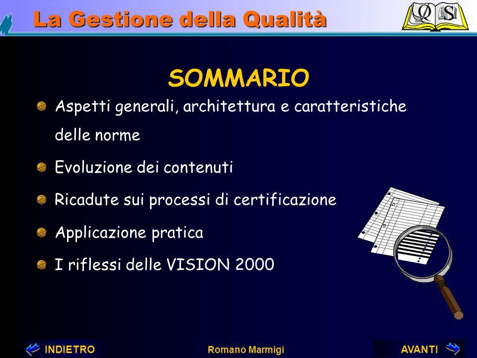 AVANTIINDIETRO Romano Marmigi La Gestione della Qualità VISION 2000 dalle ISO 9000 alle VISION 2000 QUALITA' ?