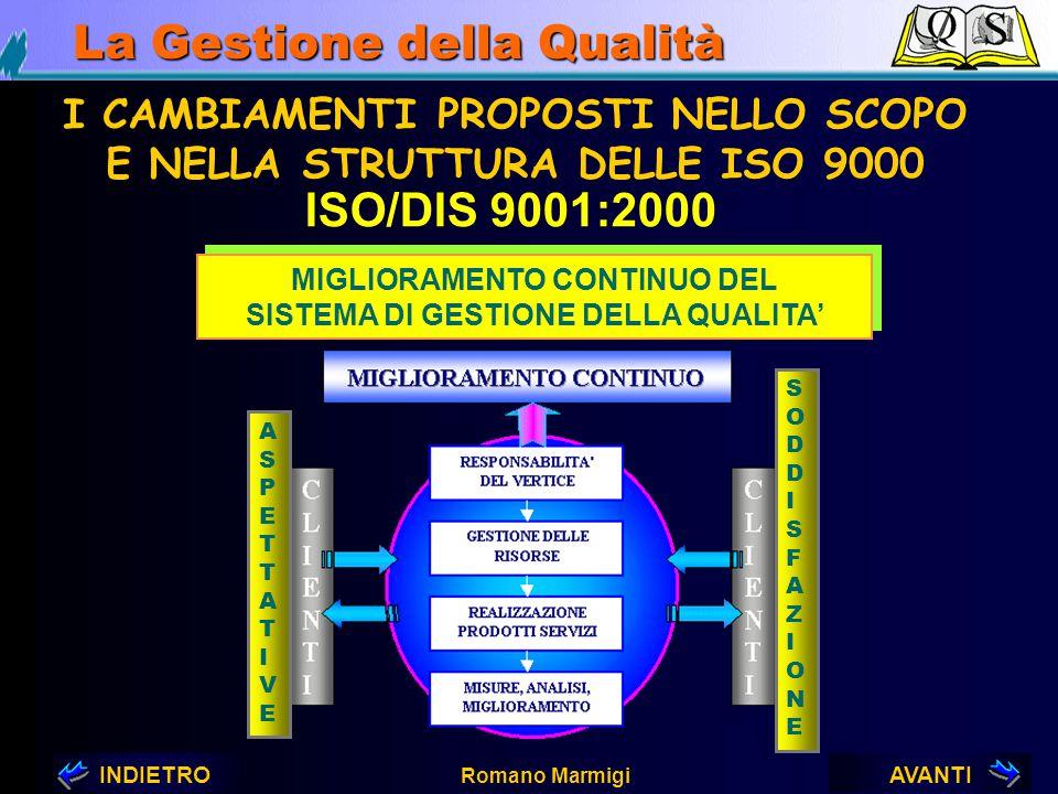 AVANTIINDIETRO Romano Marmigi La Gestione della Qualità RIMPASTO GENERALE ALCUNI ERRORI SONO STATI CORRETTI MIGLIORATA LA TERMINOLOGIA I CAMBIAMENTI P