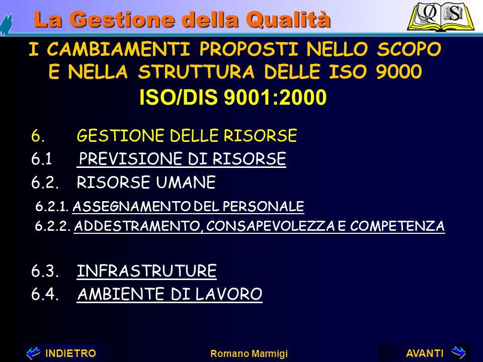 AVANTIINDIETRO Romano Marmigi La Gestione della Qualità NUOVI REQUISITI DELLA ISO/DIS 9001:2000 PUNTO 5: RESPONSABILITA' DELLA DIREZIONE 5.6.3. OUTPUT