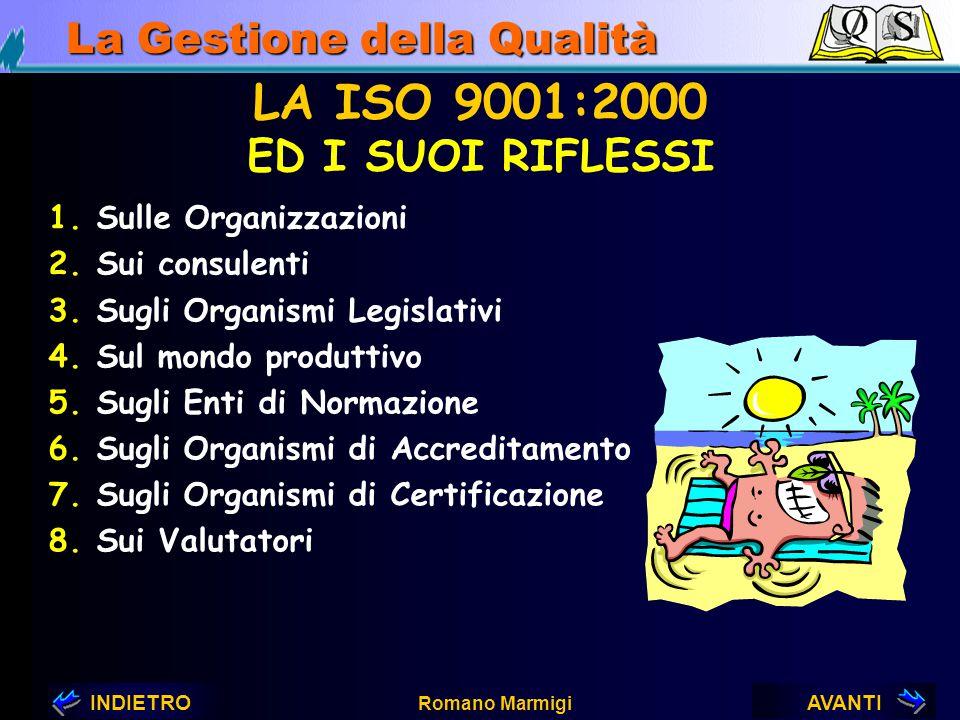 AVANTIINDIETRO Romano Marmigi La Gestione della Qualità POSSIBILE DOCUMENTAZIONE NECESSARIA ALLA SODDISFAZIONE DEI CONTENUTI DELLA ISO/DIS 9001:2000 D