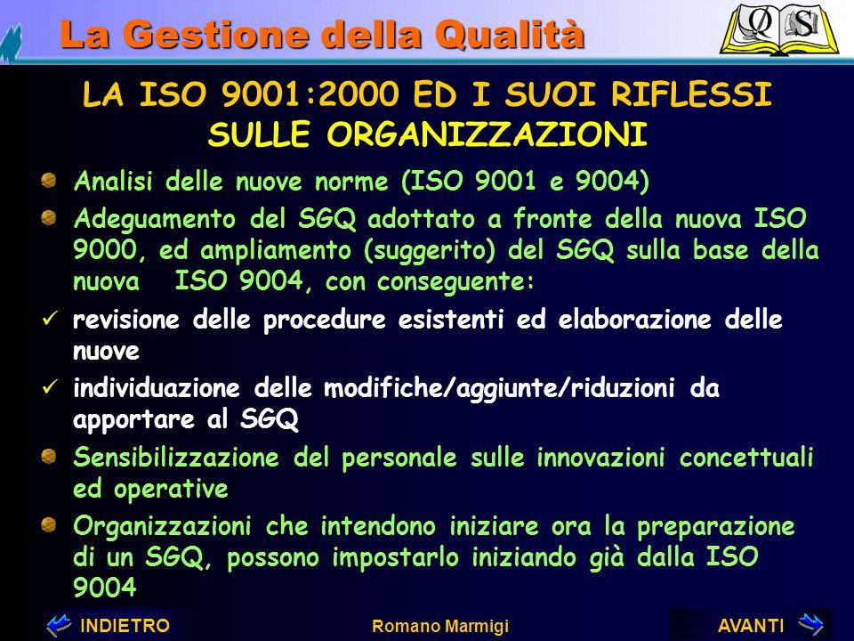 AVANTIINDIETRO Romano Marmigi La Gestione della Qualità LA ISO 9001:2000 ED I SUOI RIFLESSI 1.Sulle Organizzazioni 2.Sui consulenti 3.Sugli Organismi