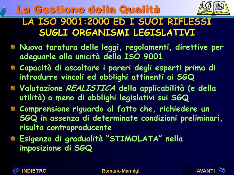 AVANTIINDIETRO Romano Marmigi La Gestione della Qualità LA ISO 9001:2000 ED I SUOI RIFLESSI SUI CONSULENTI Esigenza di comprendere e far proprio lo sp