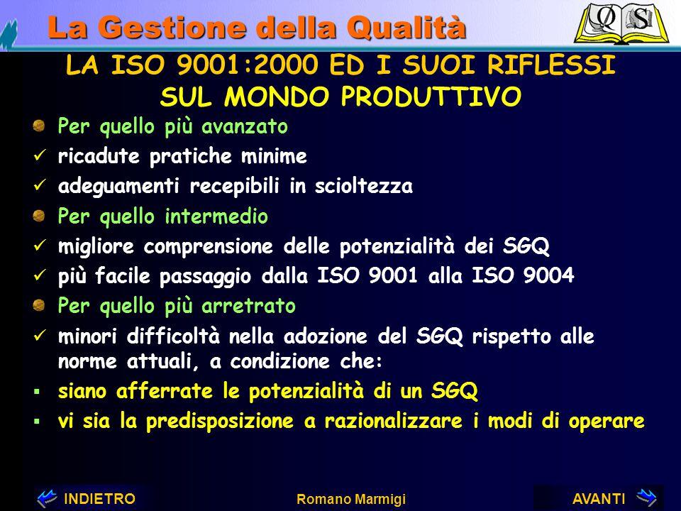 AVANTIINDIETRO Romano Marmigi La Gestione della Qualità LA ISO 9001:2000 ED I SUOI RIFLESSI SUGLI ORGANISMI LEGISLATIVI Nuova taratura delle leggi, re