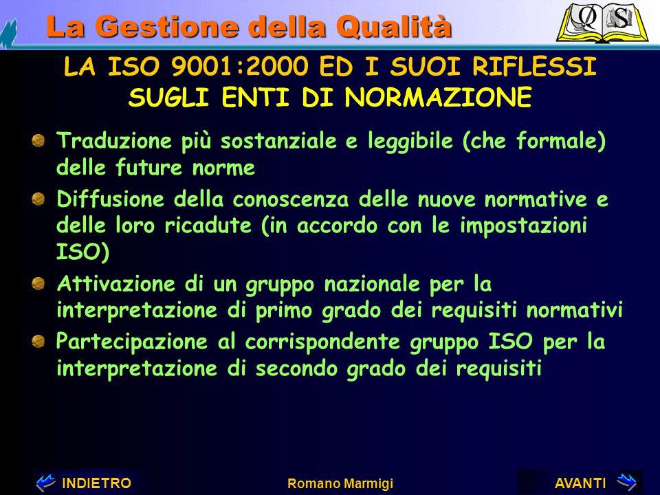 AVANTIINDIETRO Romano Marmigi La Gestione della Qualità LA ISO 9001:2000 ED I SUOI RIFLESSI SUL MONDO PRODUTTIVO Per quello più avanzato ricadute prat