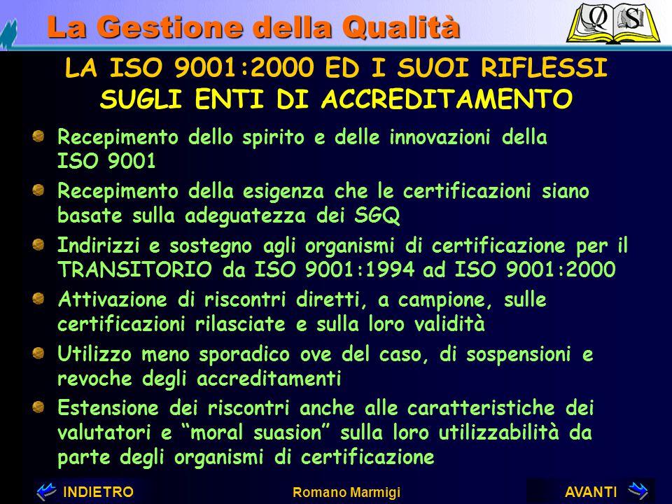 AVANTIINDIETRO Romano Marmigi La Gestione della Qualità LA ISO 9001:2000 ED I SUOI RIFLESSI SUGLI ENTI DI NORMAZIONE Traduzione più sostanziale e legg
