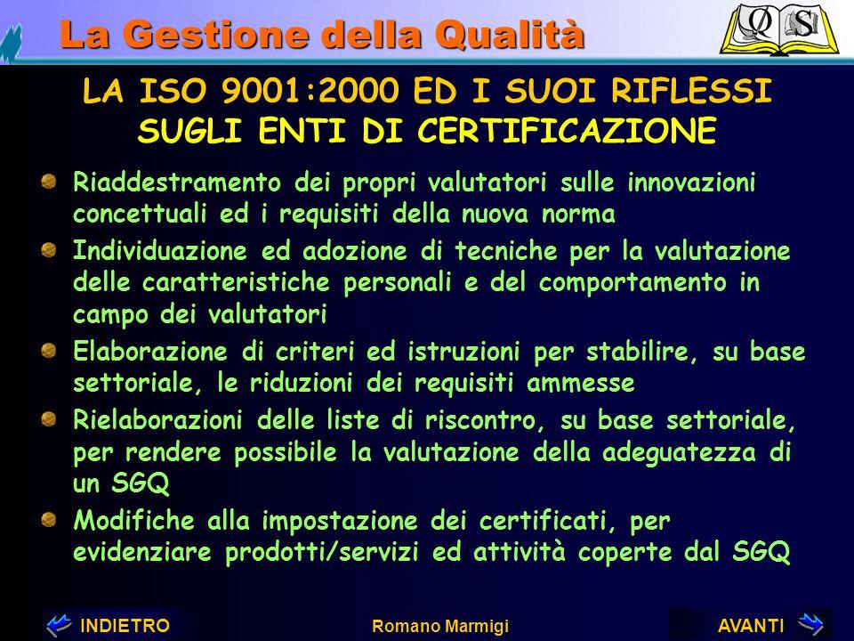 AVANTIINDIETRO Romano Marmigi La Gestione della Qualità LA ISO 9001:2000 ED I SUOI RIFLESSI SUGLI ENTI DI ACCREDITAMENTO Recepimento dello spirito e d