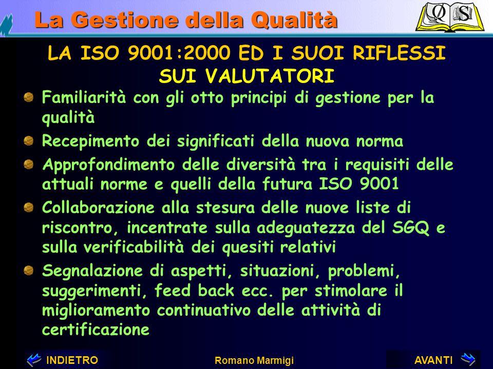 AVANTIINDIETRO Romano Marmigi La Gestione della Qualità LA ISO 9001:2000 ED I SUOI RIFLESSI SUGLI ENTI DI CERTIFICAZIONE Riaddestramento dei propri va