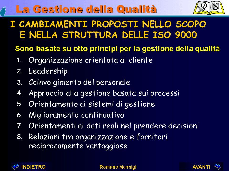 AVANTIINDIETRO Romano Marmigi La Gestione della Qualità I CAMBIAMENTI NELL'ARCHITETTURA DELLE NORME SERIE ISO 9000 E DERIVATE ISO/DIS 9000 Sostituirà