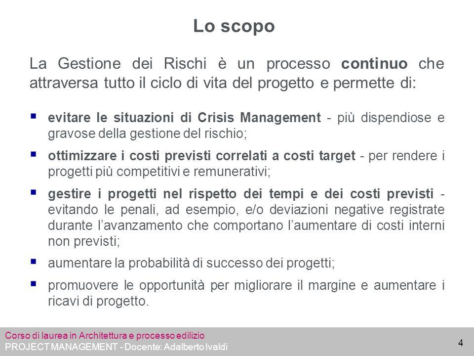 Corso di laurea in Architettura e processo edilizio PROJECT MANAGEMENT - Docente: Adalberto Ivaldi 25 Fine Lezione 8