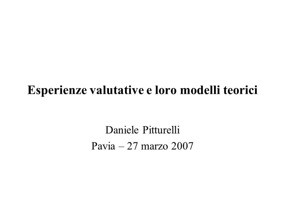 Esperienze valutative e loro modelli teorici Daniele Pitturelli Pavia – 27 marzo 2007