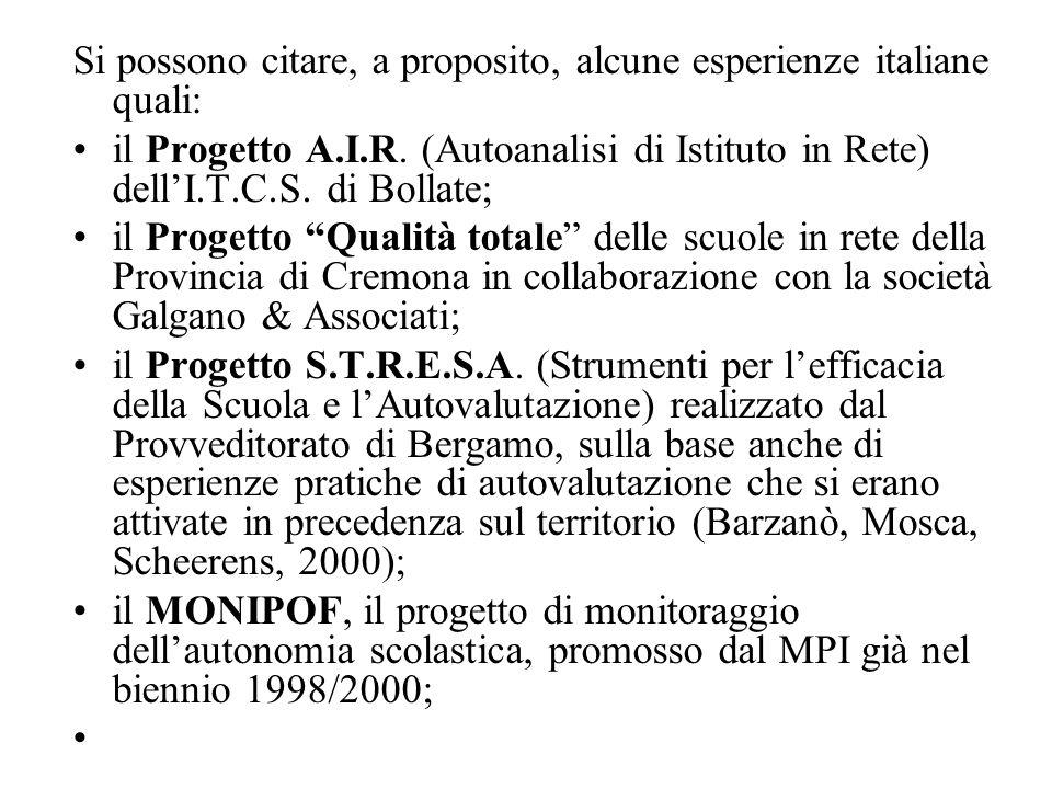 Si possono citare, a proposito, alcune esperienze italiane quali: il Progetto A.I.R. (Autoanalisi di Istituto in Rete) dell'I.T.C.S. di Bollate; il Pr