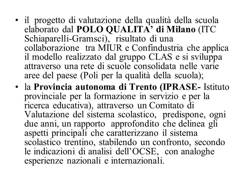 il progetto di valutazione della qualità della scuola elaborato dal POLO QUALITA' di Milano (ITC Schiaparelli-Gramsci), risultato di una collaborazion