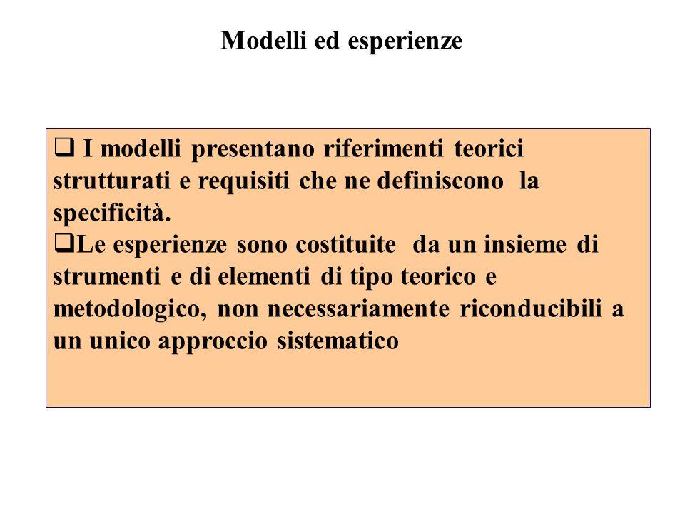  I modelli presentano riferimenti teorici strutturati e requisiti che ne definiscono la specificità.  Le esperienze sono costituite da un insieme di