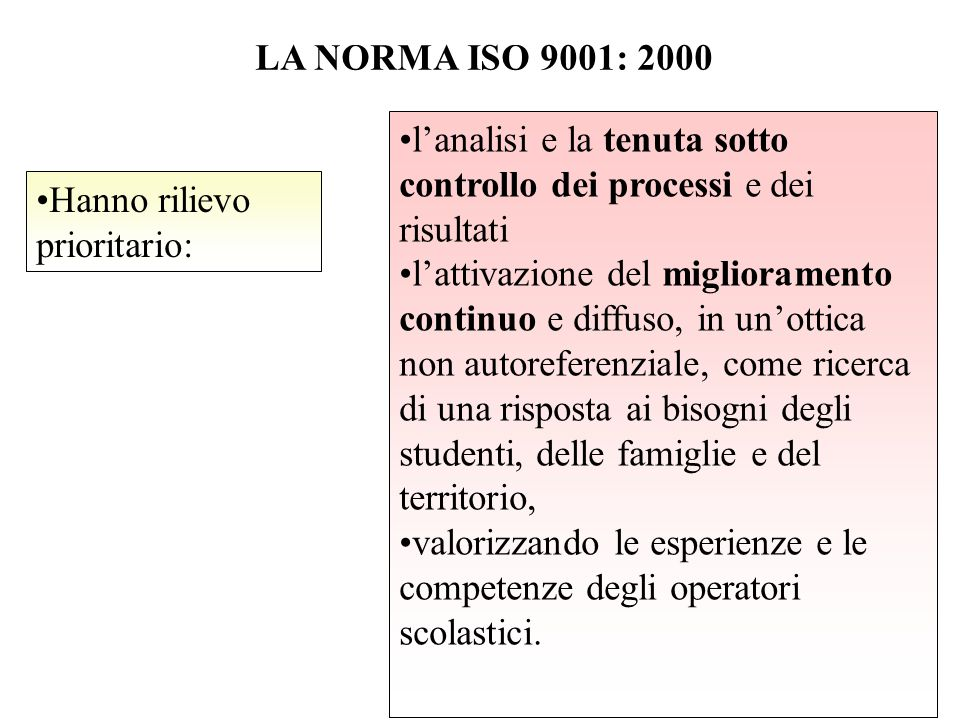 LA NORMA ISO 9001: 2000 Hanno rilievo prioritario: l'analisi e la tenuta sotto controllo dei processi e dei risultati l'attivazione del miglioramento