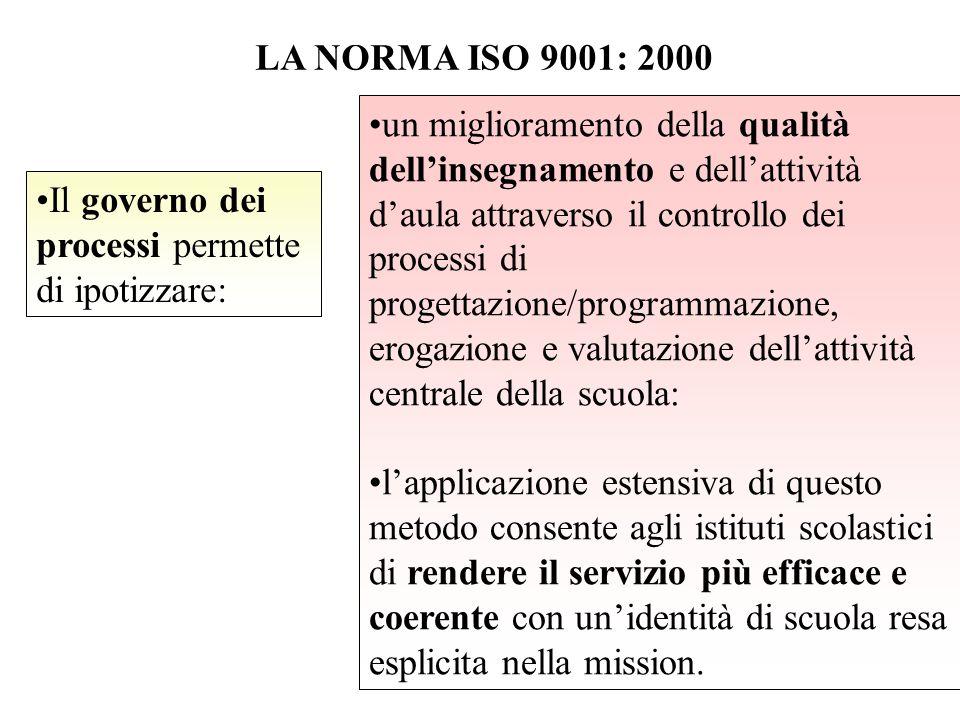 LA NORMA ISO 9001: 2000 Il governo dei processi permette di ipotizzare: un miglioramento della qualità dell'insegnamento e dell'attività d'aula attrav
