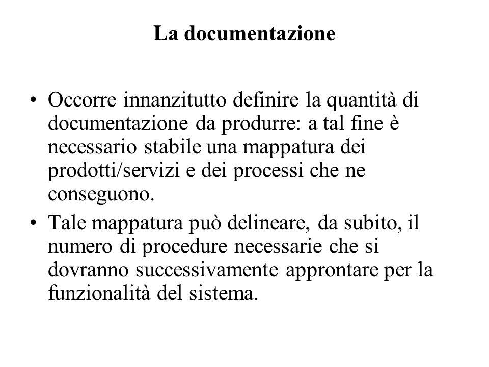 La documentazione Occorre innanzitutto definire la quantità di documentazione da produrre: a tal fine è necessario stabile una mappatura dei prodotti/