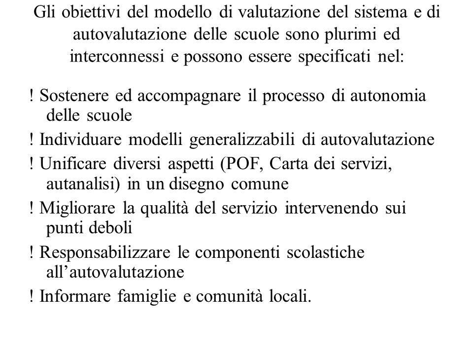 Gli obiettivi del modello di valutazione del sistema e di autovalutazione delle scuole sono plurimi ed interconnessi e possono essere specificati nel: