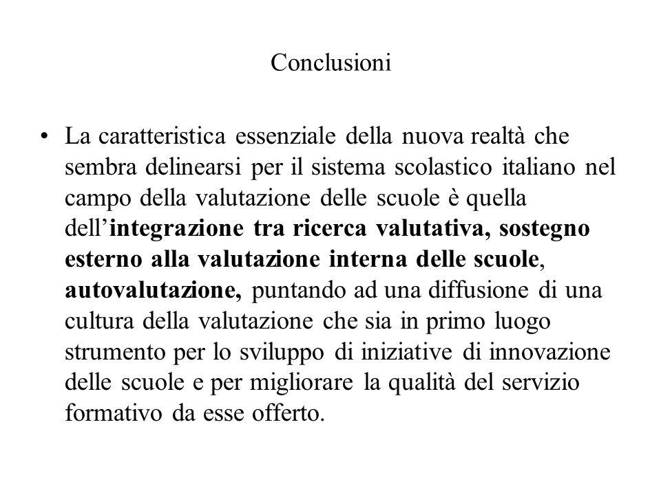 Conclusioni La caratteristica essenziale della nuova realtà che sembra delinearsi per il sistema scolastico italiano nel campo della valutazione delle