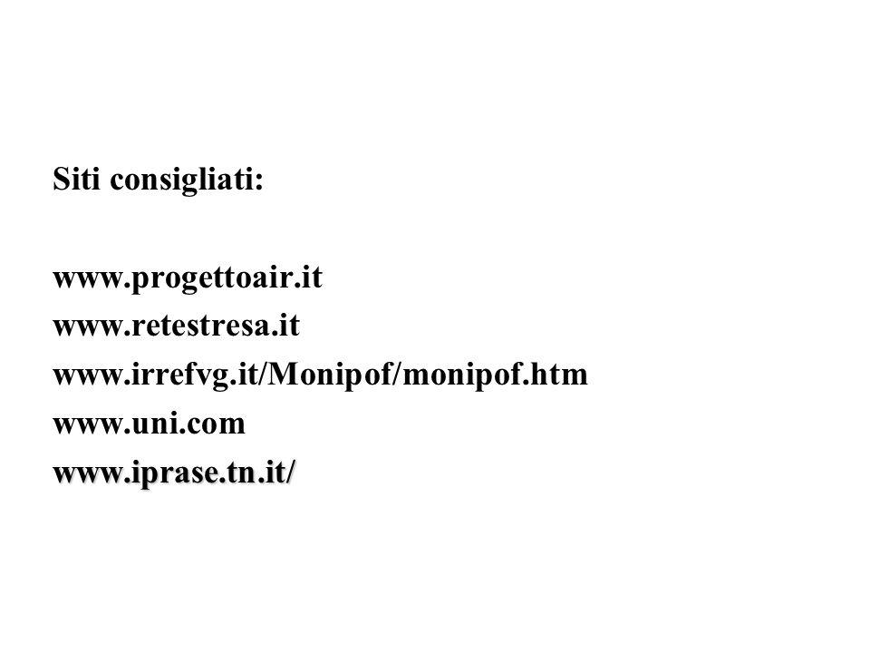 Siti consigliati: www.progettoair.it www.retestresa.it www.irrefvg.it/Monipof/monipof.htm www.uni.comwww.iprase.tn.it/