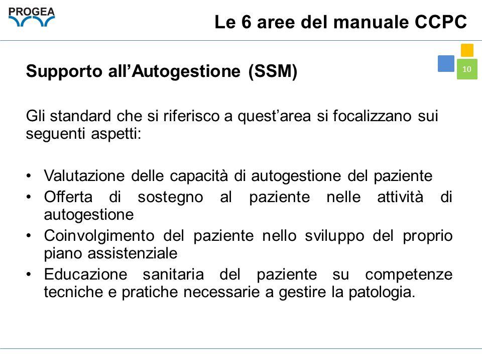 10 Supporto all'Autogestione (SSM) Gli standard che si riferisco a quest'area si focalizzano sui seguenti aspetti: Valutazione delle capacità di autog