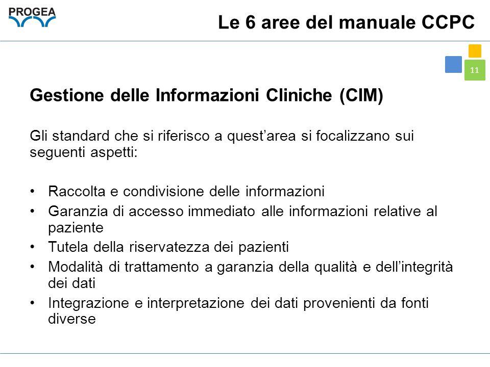 11 Gestione delle Informazioni Cliniche (CIM) Gli standard che si riferisco a quest'area si focalizzano sui seguenti aspetti: Raccolta e condivisione