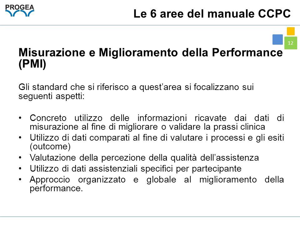 12 Misurazione e Miglioramento della Performance (PMI) Gli standard che si riferisco a quest'area si focalizzano sui seguenti aspetti: Concreto utiliz
