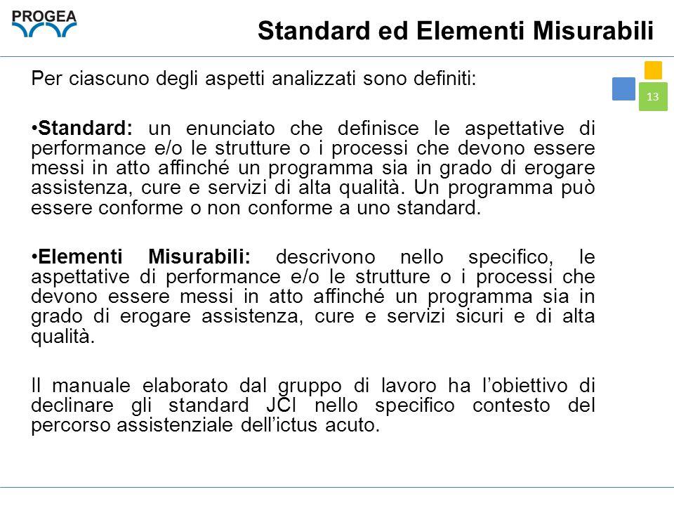 13 Standard ed Elementi Misurabili Per ciascuno degli aspetti analizzati sono definiti: Standard: un enunciato che definisce le aspettative di perform
