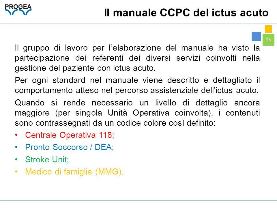 15 Il manuale CCPC del ictus acuto Il gruppo di lavoro per l'elaborazione del manuale ha visto la partecipazione dei referenti dei diversi servizi coi