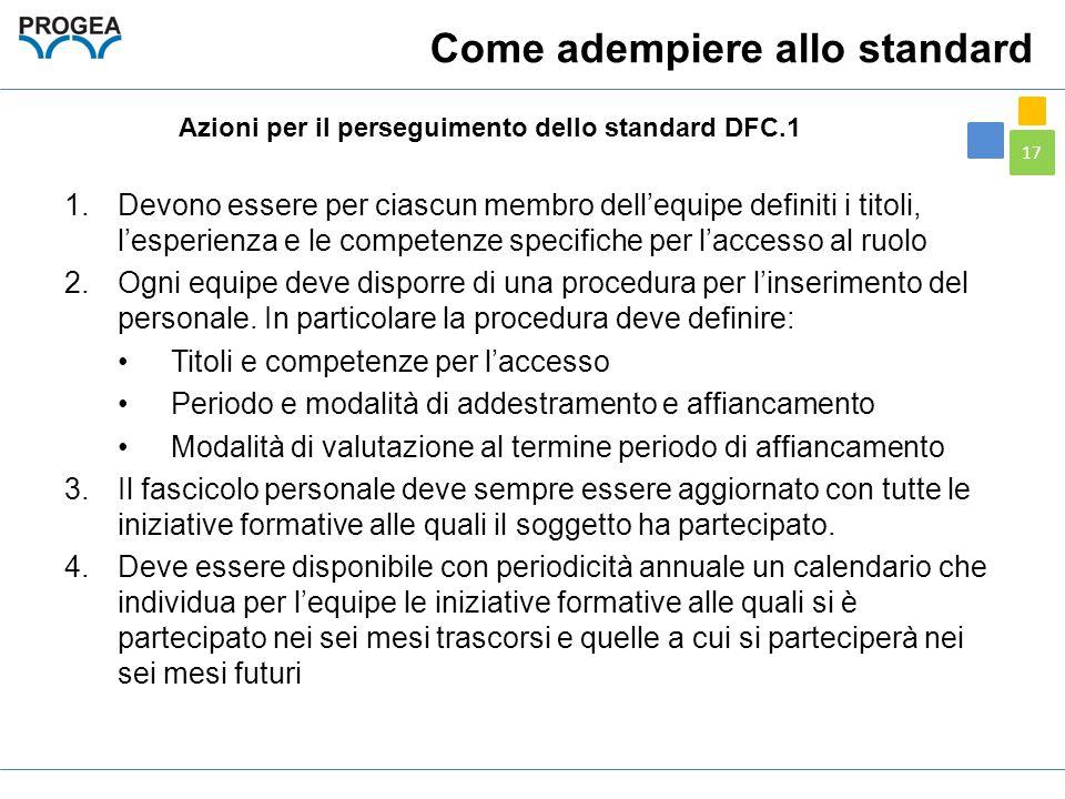 17 Come adempiere allo standard 1.Devono essere per ciascun membro dell'equipe definiti i titoli, l'esperienza e le competenze specifiche per l'access