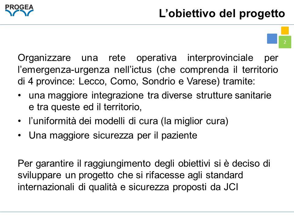 2 L'obiettivo del progetto Organizzare una rete operativa interprovinciale per l'emergenza-urgenza nell'ictus (che comprenda il territorio di 4 provin