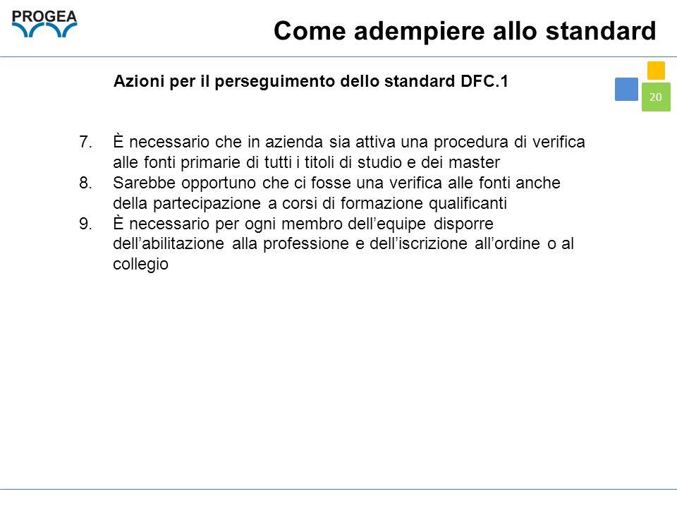20 Azioni per il perseguimento dello standard DFC.1 Come adempiere allo standard 7.È necessario che in azienda sia attiva una procedura di verifica al