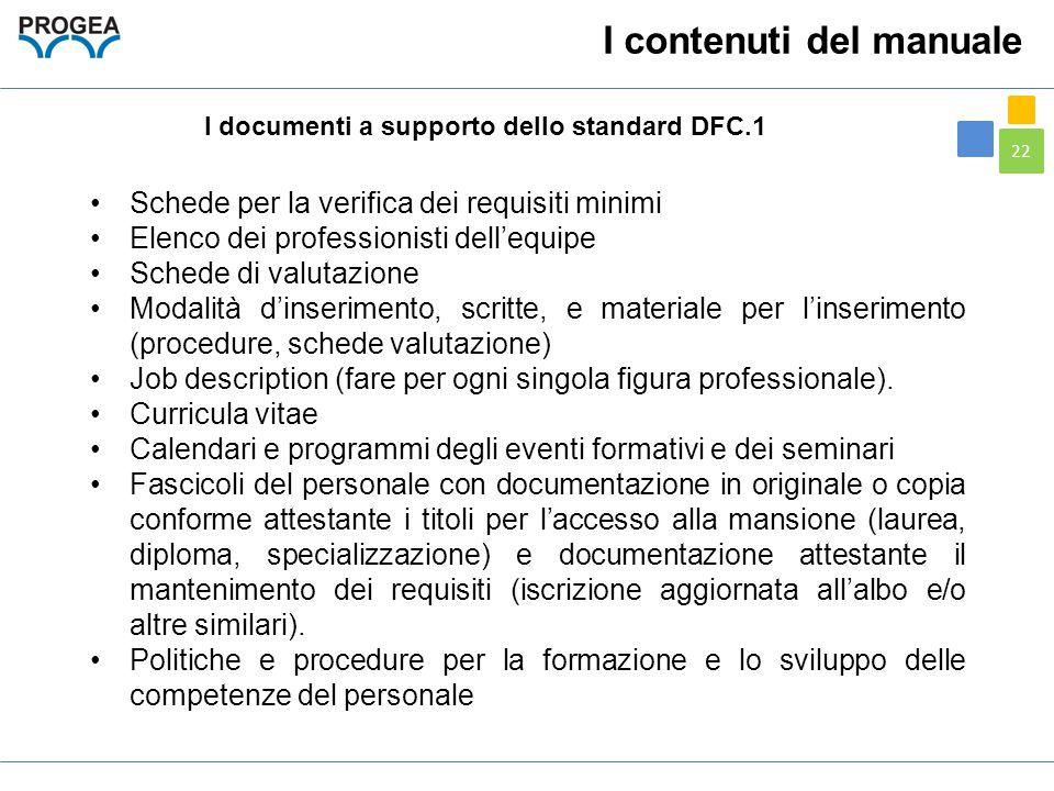 22 I documenti a supporto dello standard DFC.1 Schede per la verifica dei requisiti minimi Elenco dei professionisti dell'equipe Schede di valutazione