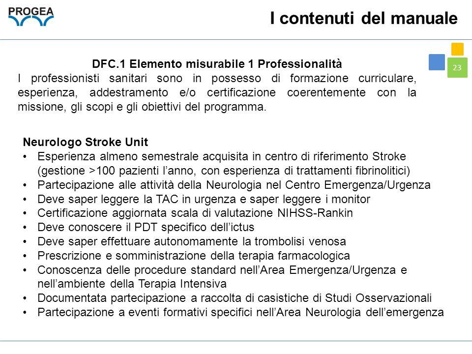 23 DFC.1 Elemento misurabile 1 Professionalità I professionisti sanitari sono in possesso di formazione curriculare, esperienza, addestramento e/o cer