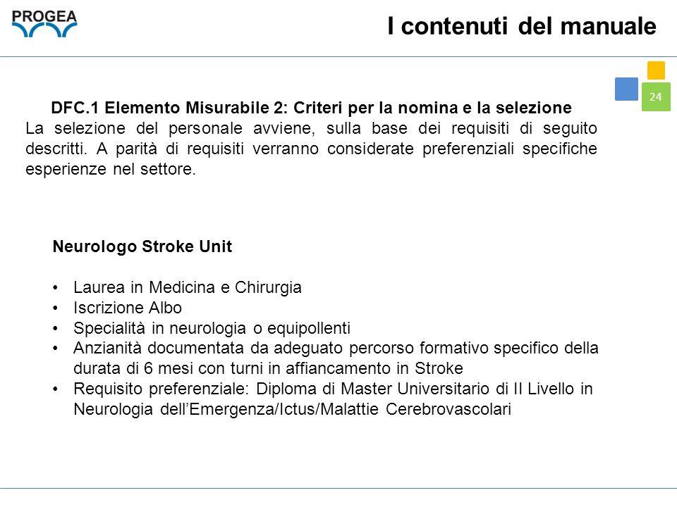 24 DFC.1 Elemento Misurabile 2: Criteri per la nomina e la selezione La selezione del personale avviene, sulla base dei requisiti di seguito descritti