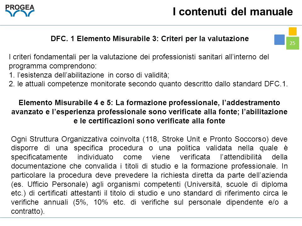 25 DFC. 1 Elemento Misurabile 3: Criteri per la valutazione I criteri fondamentali per la valutazione dei professionisti sanitari all'interno del prog