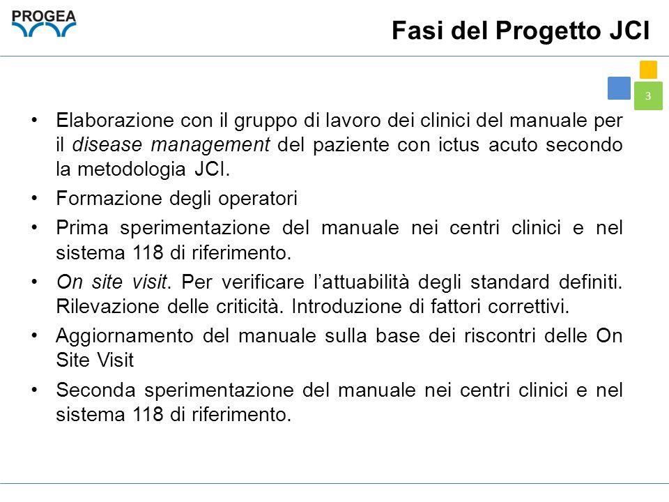 3 Fasi del Progetto JCI Elaborazione con il gruppo di lavoro dei clinici del manuale per il disease management del paziente con ictus acuto secondo la